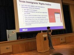 Gabriella Beker of Austin ACLU speaking at June program
